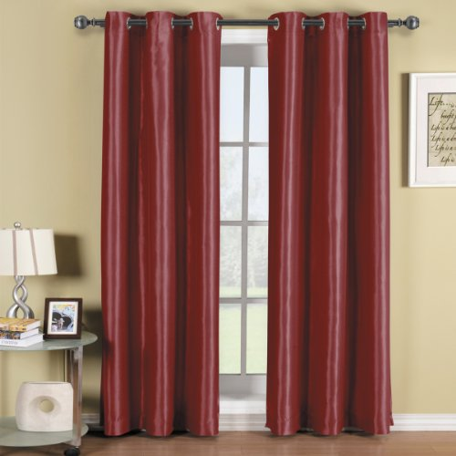 Pair of Two Burgundy Top Grommet Blackout Curtain Panels, Triple-Pass Foam Back Layer, Elegant and Contemporary Soho 84 Inches Blackout Panels