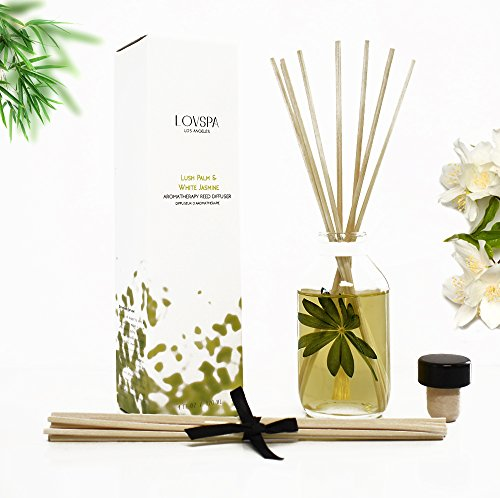 LOVSPA Lush Palm & Jasmine Reed Sticks Oil Diffuser | Tranquil Scent Made Premium Essential Oils | Green Palm, Jasmine, Lily The Valley & Earthy Notes