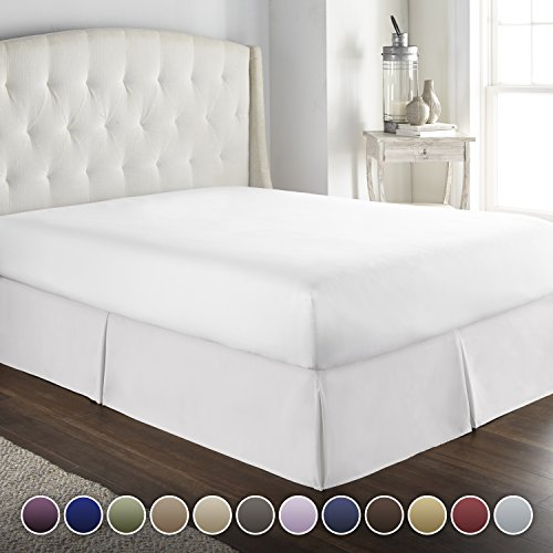 HC COLLECTION Hotel Luxury Bed Skirt/Dust Ruffle 1800 Platinum Collection-14 inch Tailored Drop, Wrinkle & Fade Resistant, Linens (Full, White)