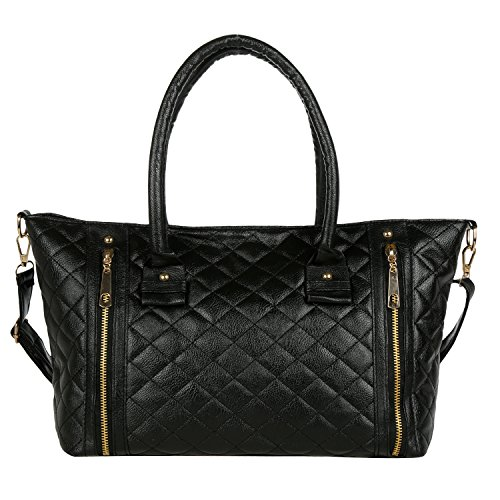 eshion Fashion Black Quilted Faux Patent Leather Office Tote Shoulder Bag