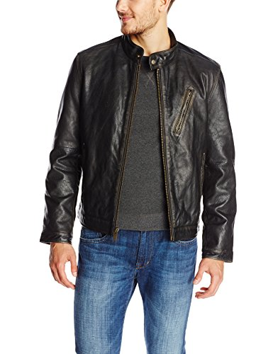 Marc New York by Andrew Marc Men's Radford Distressed Retro Cow Leather Jacket, Black, Large