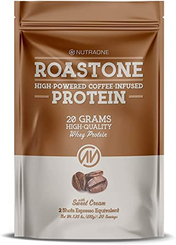 RoastOne Coffee-Infused Protein Powder by NutraOne Low Sugar Whey Protein Powder Sweet Cream 1.35 lbs.