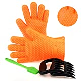 iRegro BBQ Meat Shredder Claws, Heat Resistant Silicone Gloves and Sauce Brush for Cooking, Grilling, Baking, Barbecue