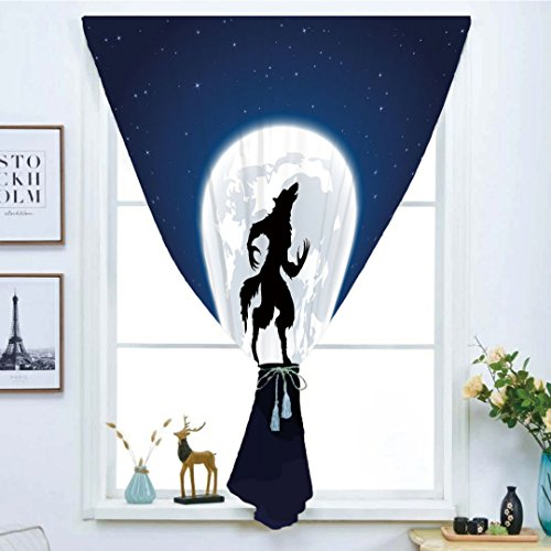 iPrint Blackout Window Curtain,Free Punching Magic Stickers Curtain,Wolf,Full Moon Night Sky Growling Werewolf Mythical Creature in Woods Halloween,Dark Blue Black White,Paste Style,for Living Room