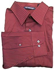 Roundtree & Yorke Wine Striped Silky Finish L/S Button-down Collar Shirt XLarge