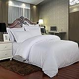 Hotel Comforter 6 Pcs Set By Valentini, King Size, Stripe D2, White, Microfiber