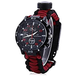 16 IN 1 Ultimate Survival 550ib Paracord Watch - Upgraded With Built-in Fishing Kits - Military Tactical Watch With Thermometer Firestarter Whistle And More - All IN Outdoor Survival Gear (Black&Red)