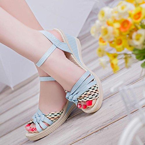 Boucle Sandales Cheville la Ete Plateforme Sangle Xinxinyu Sandales Chaussures Mode Femmes Bleu Compensées Femme à de Xw7IgOn8q