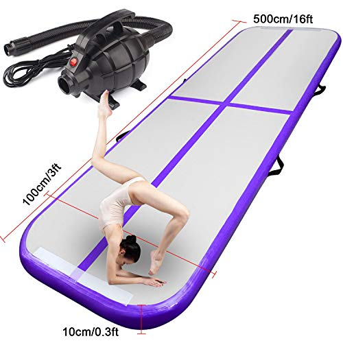 FBSPORT 10ft/13ft/16ft/20ft/23ft/26ft Inflatable Gymnastics Airtrack Tumbling Mat Air Track Floor Mats with Electric Air Pump for Home Use/Training/Cheerleading/Beach/Park and Water(5m Purple)