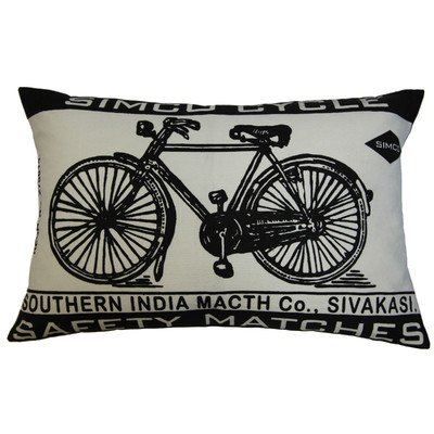 Koko Match Co Bicycle Print Cotton Pillow, 13 by 20-Inch, (Koko Cotton Pillow)