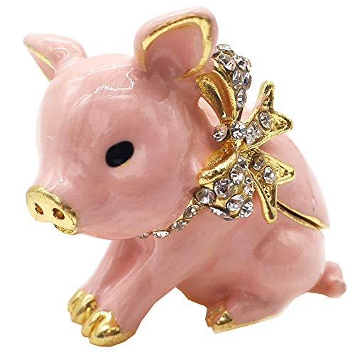 (Waltz&F Handcrafted Pewter Trinket Box Jeweled New Lovely Pig Jewelry Box)