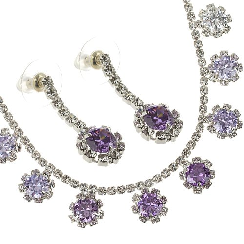[Swarovski Crystals Garland Style jewellery Set. 9 Swarovski & Czech crystal pendants adorns a Cup chain Crystals necklace; Crystals shower the entire garland with hanging tiered round pendants. Dangling Matching earrings. Amazing price! 2 colour options Clear and Amethyst on a Rhodium Finish, Stunning! Choose colour option in