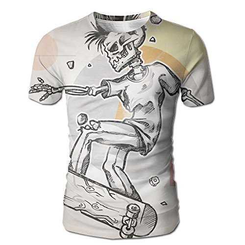 Kooiico Mens Skull Punk Rocker Skeleton Boy on A Skateboard Skiing With Abstract Background Funny T-Shirts White M