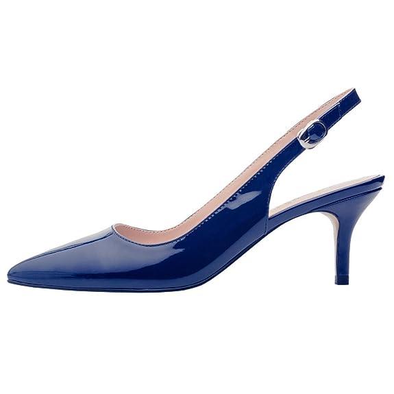 EKS Frauen Spitzschuh Mid Heels Slingback Patent Kleid Party Pumps Schuhe Blau 44 EU v57UDz4L