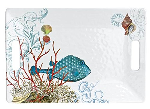 Blue Fish Serving Set - Michel Design Works Melamine Serving Tray, Medium, Sea Life