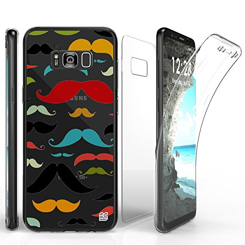 TriMax Case For Galaxy S8 Plus, Ultra Slim Transparent Clear Hybrid Shock Absorbing Scratch Resistance With Full Body Protection Built In Screen Protector Flexible Gel Cover Rainbow Mustache