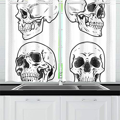 VNASKL Skull Collection Kitchen Curtains Window Curtain Tiers for Cafe Bath Laundry Living Room Bedroom 26x39inch 2pieces ()