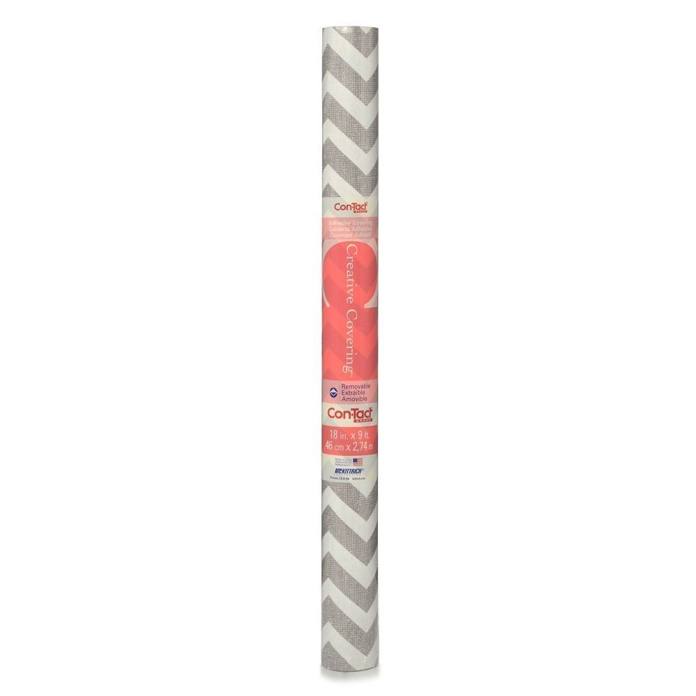 Con-Tact Brand 09F-C9A7R3-12 Creative Covering Chevron Gray Adhesive Drawer & Shelf Liner