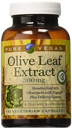 Pure Vegan Olive Leaf Extract Vegetarian Capsules, 90 Count