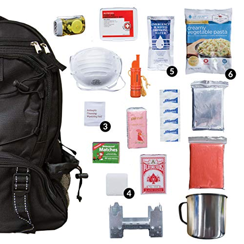 Wise Food Emergency Survival Backpack Kit, Great Go Bag For Hurricanes, Fires, Earthquakes - Black