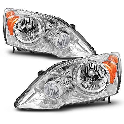 For 2007 2008 2009 2010 2011 Honda CR-V Driver Left + Passenger Right Side Headlights Headlamps Pair Set