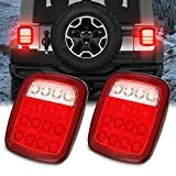 AMBOTHER Universal LED Trailer Tail Lights Brake Turn Signal Reverse Running Back Up Stop Rear Lights for Jeep YJ JK CJ Pickup Truck VAN RV SUV Bus Cargo, DC12V, Red/White,1 Year Warranty (Pack of 2)