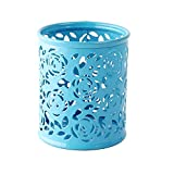 Pencil Holder Stainless Steel Metal Cylinder Pencil Cup Creative Floral Pen Holder for Desktop Stationery Organizer Office Accessories (blue)