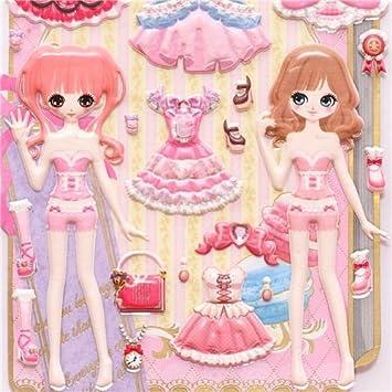 Pegatinas blandas esponja muñecas de vestir kawaii japonesas
