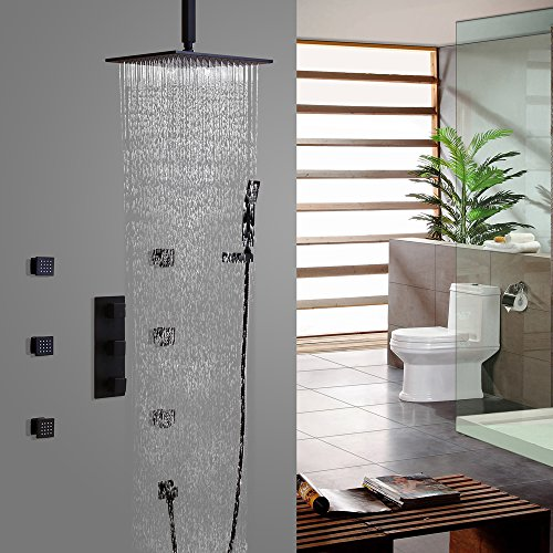 Jiuzhuo Contemporary Black Shower System Ceiling Mount Rain Shower Head & 6 Body Sprays & Hand Shower (12 Inch Shower Head)