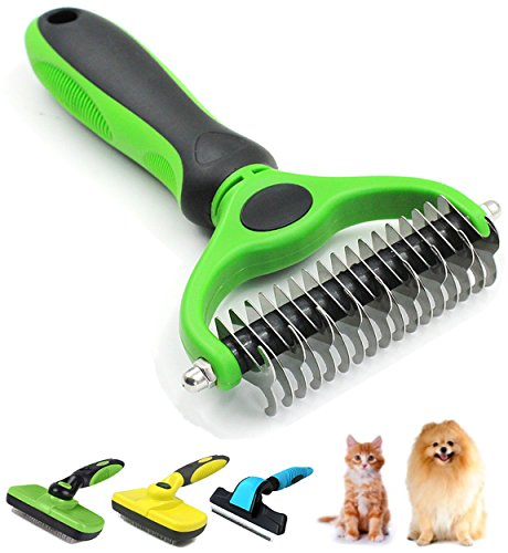 GAUTERF Shedding Tools with 2 Sided Professional Grooming Rake for Cats & Dogs,Shedding Tools Dog Hair Removal Brush, Cat Hair Comb (Green/Black, Beauty rakes Brush)
