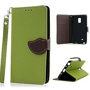 Hojas de diseño clásico BestCool 1 x PU Funda de piel para Samsung Galaxy Note Edge N9150 modelo funda de piel sintética con atril y tarjetero y cierre magnético - verde