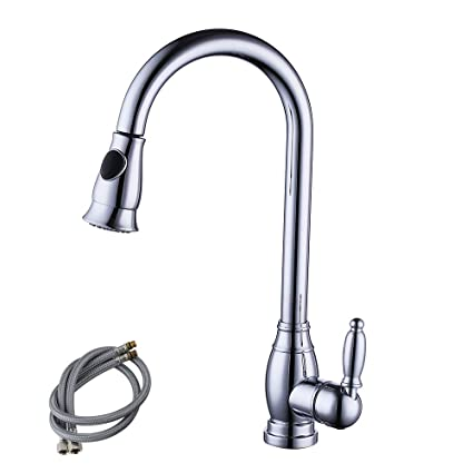 Kes Brass Bar Sink Faucet Sliver Chrome With Pull Down Sprayer Head