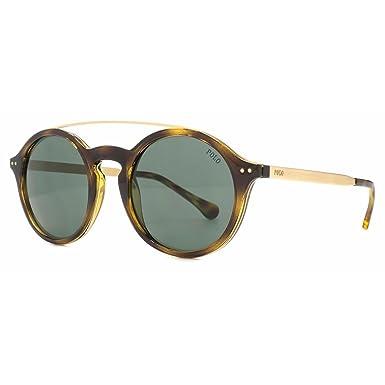 2fc85157b Polo Ralph Lauren Metal Bridge Round Sunglasses in Dark Havana Green PH4122  500371 49: Amazon.co.uk: Clothing