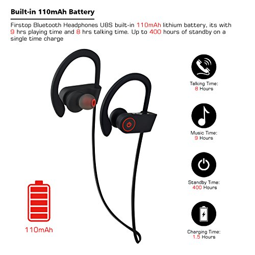 outlet Firstop Bluetooth Headphones, IPX7 Waterproof Wireless Earphones, Noise Cancelling Earbuds Secure Fit for Sport, Gym with Built-in Mic, Works with iPhone, iPad, Samsung, Nexus, HTC, Echo, and More