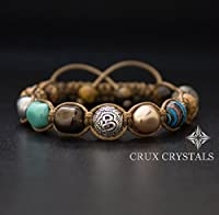 Limited Edition, Om Beaded Bracelet, Women's Gemstone Shamballa Bracelet, Swarovski Pearls, Wrap Bracelet, Namaste, Yoga Bracelet, Fall Jewelry, Crux Crystals