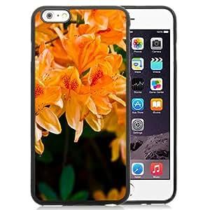 NEW Unique Custom Designed iPhone 6 Plus 5.5 Inch Phone Case With Light Orange Flowers_Black Phone Case