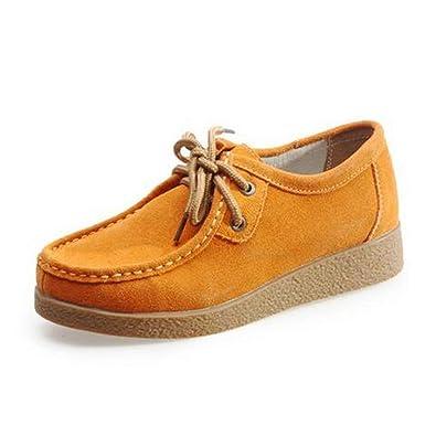 Zapatos De Mujer Plataforma Oxford De Cuero Plano con Cordones SóLido Punta Redonda Mocasines CóModos Calzado Informal: Amazon.es: Zapatos y complementos