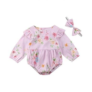 c0b6d52eefa Newborn Baby Girl Romper Bodysuit Kid Spring Long Sleeve Floral Ruffle  Jumpsuit Outfits Clothes Elegant Pink