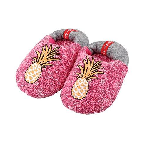 Bwiv Unisex Hausschuhe Karikatur Ananas Flamingo Baumwolle Handtuch Schwamm TPR Sohlen Anti Rutsch Warm für Kinder & Erwachsene Ananas