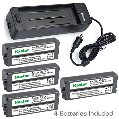 (Kastar Battery x4 + Charger BG-CP200 for Canon NB-CP1L NB-CP2L & Compact Photo Printer SELPHY CP100 CP200 CP220 CP300 CP330 CP400 CP510 CP600 CP710 CP730 CP770 CP780 CP790 CP800 CP900 CP910 CP1200)