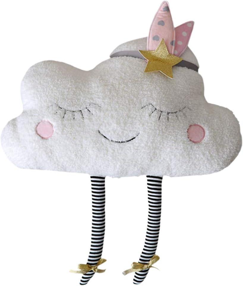 VOSAREA Almohada de Tiro en la Nube Almohada de Dibujos Animados Bordada Almohada de Tiro Suave sofá cojín para la Cintura Almohada para bebé decoración del hogar-23x5x38 cm
