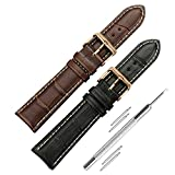 iStrap 2 PCS 20mm Leather Watch Straps Replacement Crocodile Grain Watch Strap Rose Gold Spring Bar Buckle Accessories for Men Women