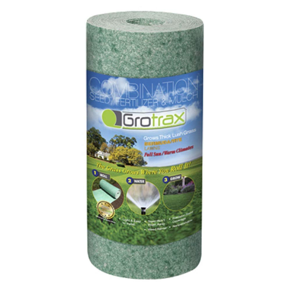 Grotrax Biodegradable Grass Seed Mat | Quick Fix Roll | All in One Growing Solution for Lawns, Dog Patches & Shade | Just Roll, Water & Grow | No Fake or Artificial Grass | Bermuda Rye, 50ft