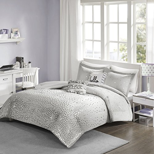 Zoey Metallic Comforter Set Grey/Silver Twin/Twin XL (Zoey Quilt Set)