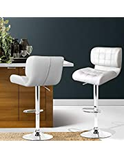 Artiss 2 x Adjustable Bar Stools Swivel Counter Bar Chairs Leather Kitchen Dining Stools, White