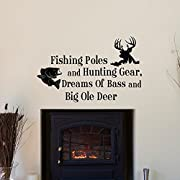 Toonol Country Wall Decals Quotes Fishing Poles and Hunting Gear Dreams of Bass and Big Ole Deer Bedroom Kids Room Wall Stickers,35 x 57cm