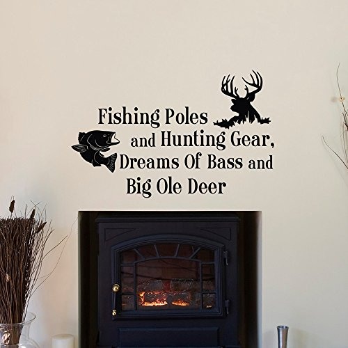 Toonol Country Wall Decals Quotes Fishing Poles and Hunting Gear Dreams of...