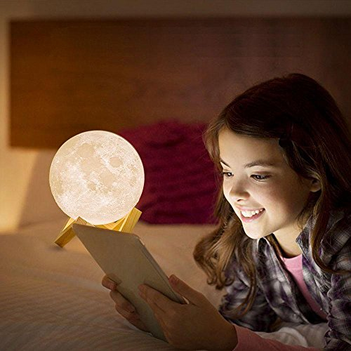 3D Moon Lamp, niceEshop(TM) 7 Colors LED Printing Lighting Night Light Warm Lunar Lamp with Dimmable Touch Control, USB Charging, Wood Holder for Home Decoration & Christmas, Birthday Gifts, 3.14in by niceeshop (Image #3)