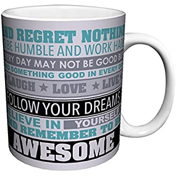 Be Awesome Inspirational Motivational Happiness Quotes Ceramic Gift Coffee  (Tea, Cocoa) 11 Oz