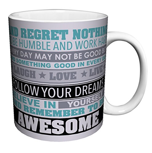 Be Awesome Inspirational Motivational Happiness Quotes Ceramic Gift Coffee (Tea, Cocoa) 11 Oz. Mug